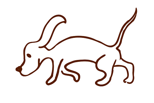 a beagle dog, drawn by Lyne in the doodle style, isolated on a white background. dachshund dog