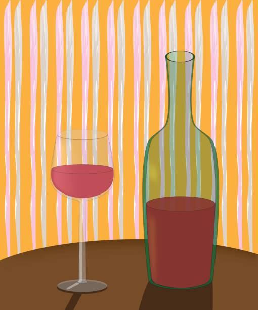 eine flasche wein und ein glas auf den tisch - schwarzwald stock-grafiken, -clipart, -cartoons und -symbole