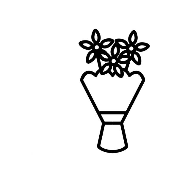 ein strauß von gänseblümchen icon vektor. abbildung des isolierten kontursymbols - blütenstand stock-grafiken, -clipart, -cartoons und -symbole