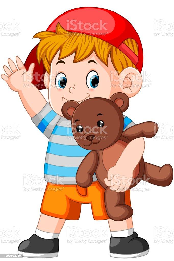 Vetores De Um Menino Engracado Brincar Com O Ursinho De Pelucia E