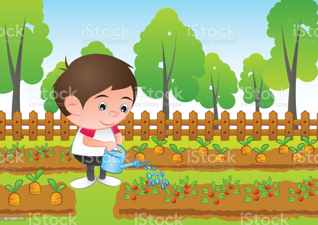 A Bubble Head Boy Cartoon Water The Plant In The Gardensurround With ...