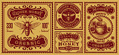 a bundle of vintage honey labels, these design can be used as packages for different honey products