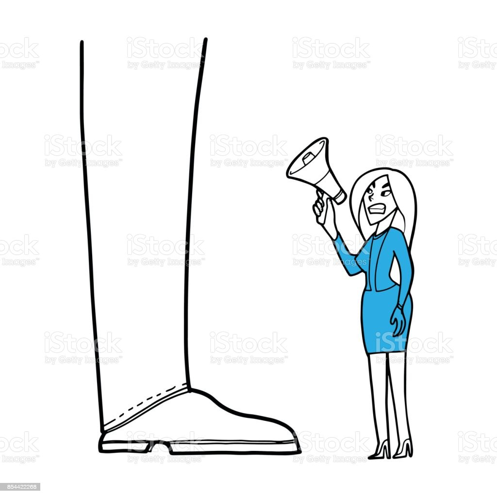 a Businesswoman shouting into a megaphone for protest about something for boss, business and workplace concept. vector art illustration
