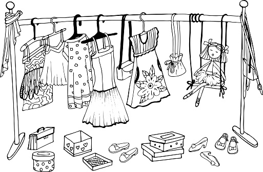 a coloring book with a dressing room