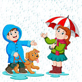 illustration of a couple under an umbrella walking in the rain