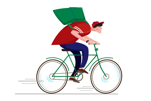 a courier on a bicycle