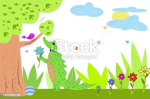 istock a crocodile gives a flower to a bird, 1320995285