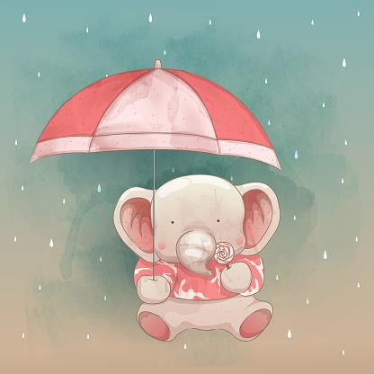 a cute elephant and the umbrella