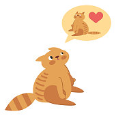 Vector illustration draw character design couple love of cat in valentine day and word love. Flat icon illustration eps10