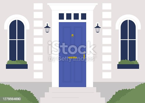 a facade of the building, front door and windows, architectural details, no people template, real estate