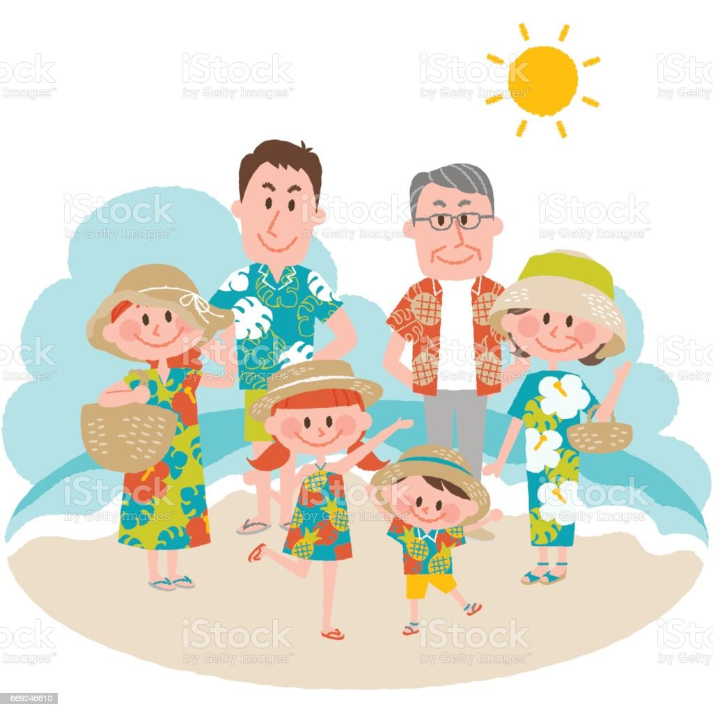 a family vacation on the beachfront vector art illustration