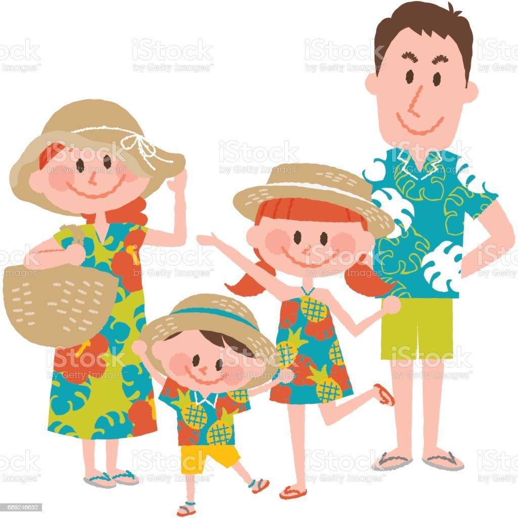 海辺の家族での休暇 ベクターアートイラスト