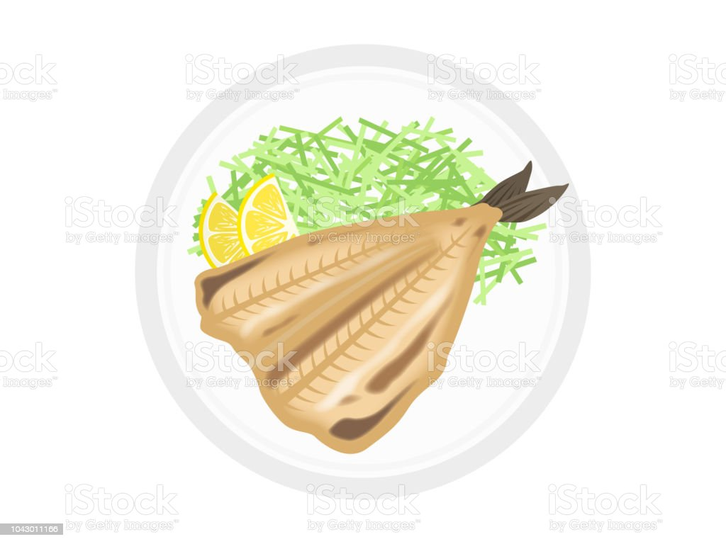 a fish cut open and dried vector art illustration