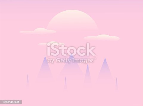istock a foggy mountain and sunset, pink background, eps10 1302343051