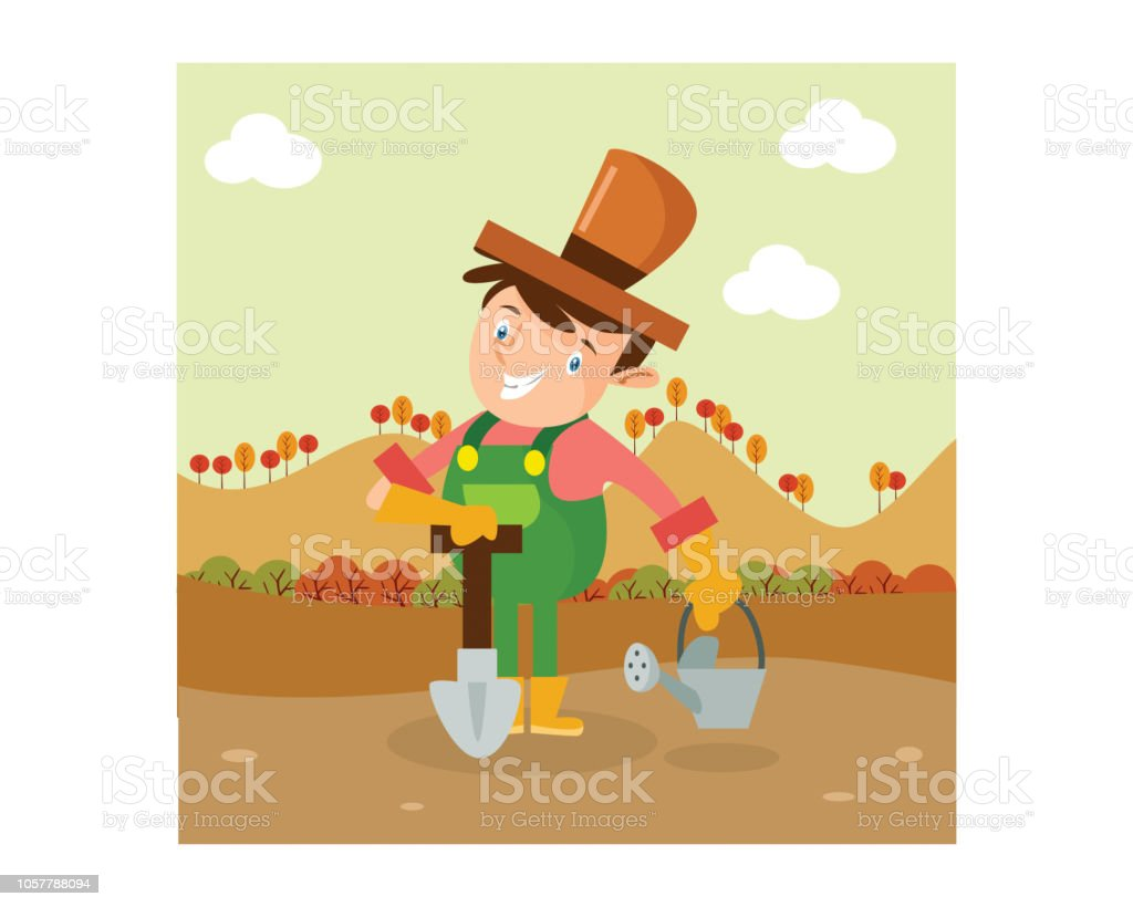 A Funny Farmer Is Posing With Shovel And Watering Can Cartoon Character Royalty