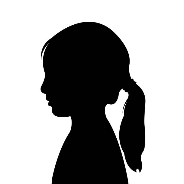 stockillustraties, clipart, cartoons en iconen met een vector van het meisjeshoofdsilhouet - alleen één meisje