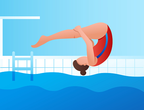 a girl jumps from a springboard into a pool of water. Sports competition, championship, training. Healthy lifestyle.