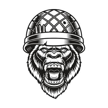 a gorilla soldier vector illustration
