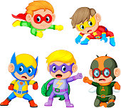 illustration of a group of the cute children uses the super heroes costume