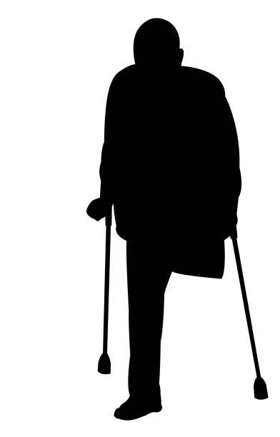 a handicapped man body silhouette vector vector art illustration