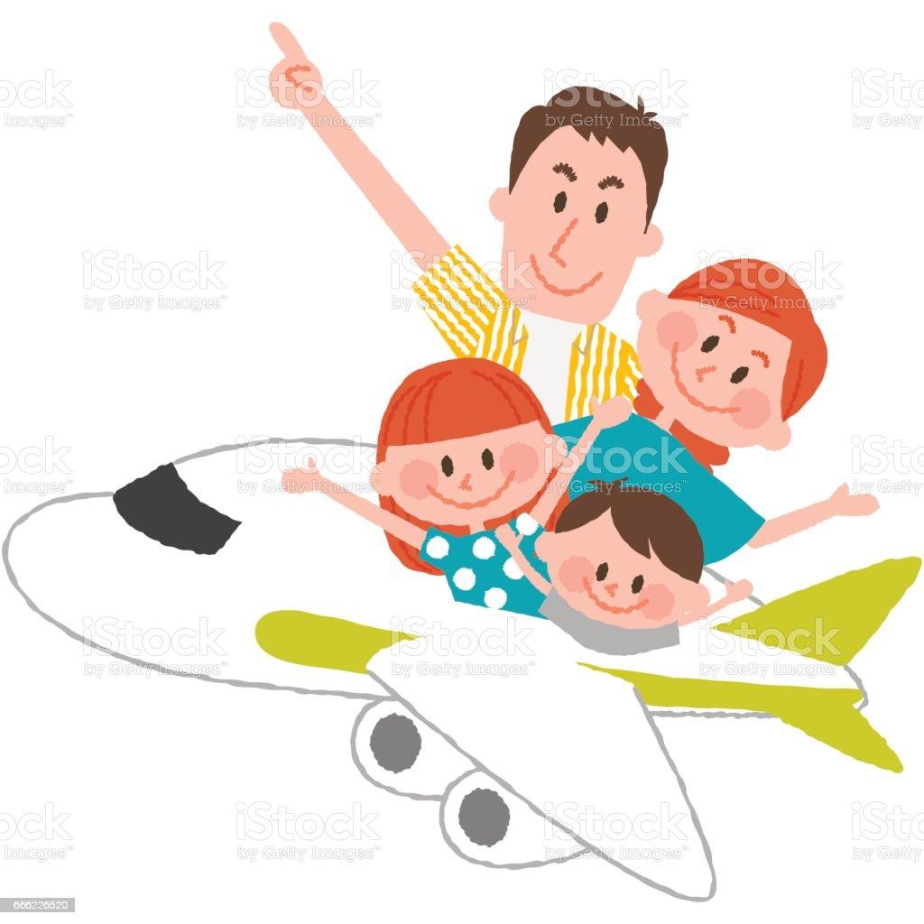 楽しい家族旅行 ベクターアートイラスト