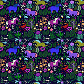 a herd of unicorns, birds and insects with a blooming garden, a garden with beautiful animals and plants, an illustration of a magical forest for children. seamless vector pattern