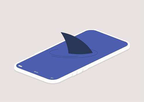 a hidden threat: a shark fin above the mobile phone screen surface, digital addiction, a darknet concept