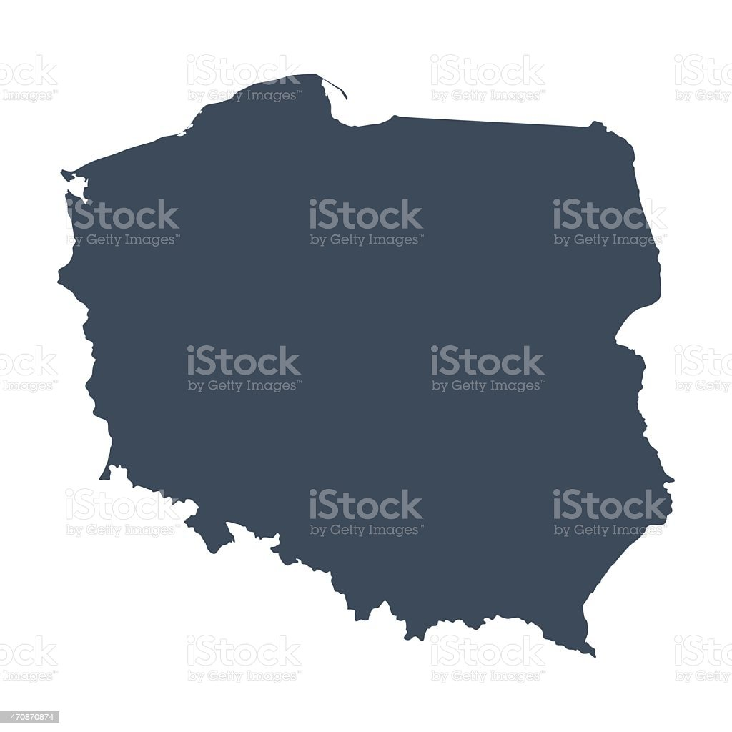 a illustrated blue Poland country map vector art illustration