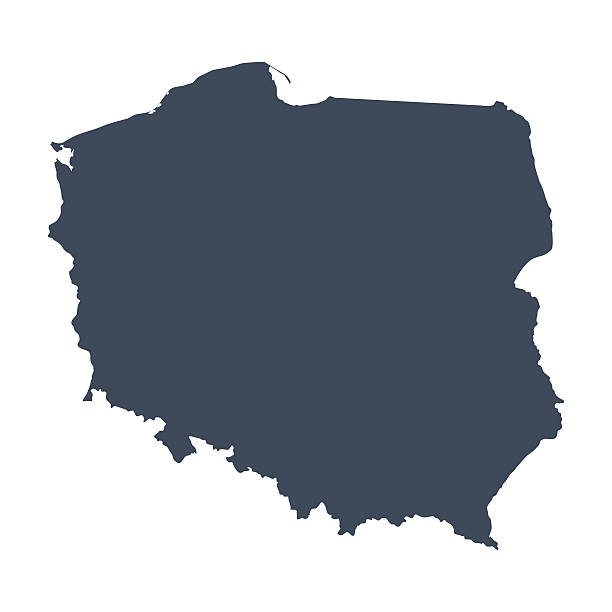 stockillustraties, clipart, cartoons en iconen met a illustrated blue poland country map - polen