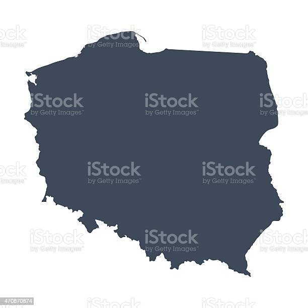 A graphic illustrated vector image showing the outline of the country Poland. The outline of the country is filled with a dark navy blue colour and is on a plain white background. The border of the country is a detailed path.