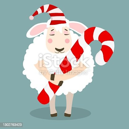 istock a lamb in a striped hat with a Christmas candy cane. Christmas vector illustration 1302763423