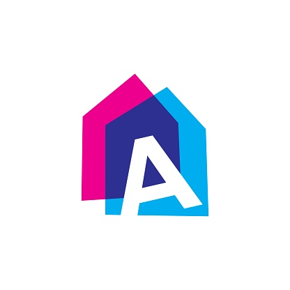 a letter house home casa overlapping color vector icon illustration