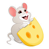 a little white mouse with a piece of cheese