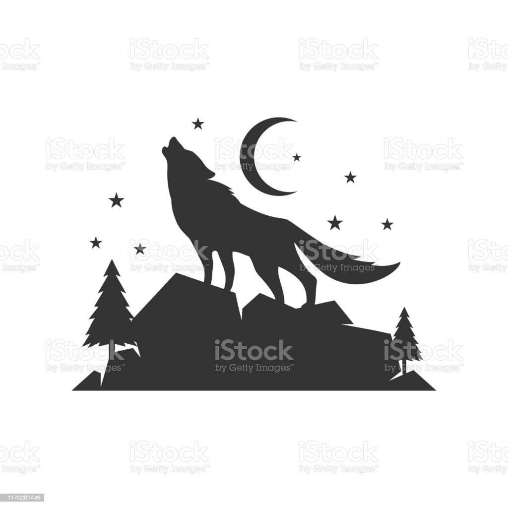 A Lone Wolf Logo Design Background Vector Concept
