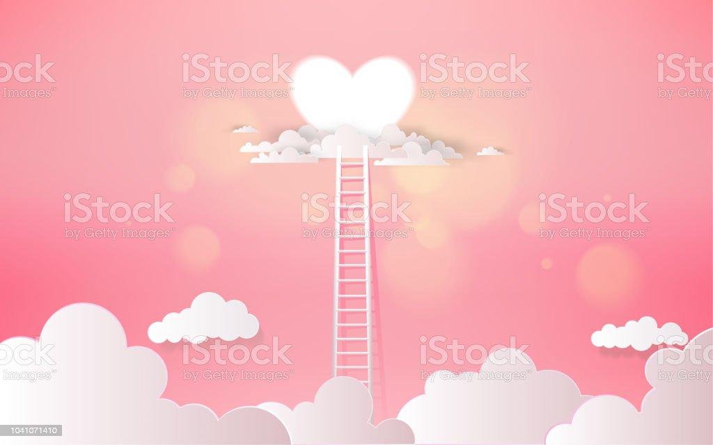 Ein Liebewettbewerbkonzept Mit Herzform Und Leiter Liebekonzept