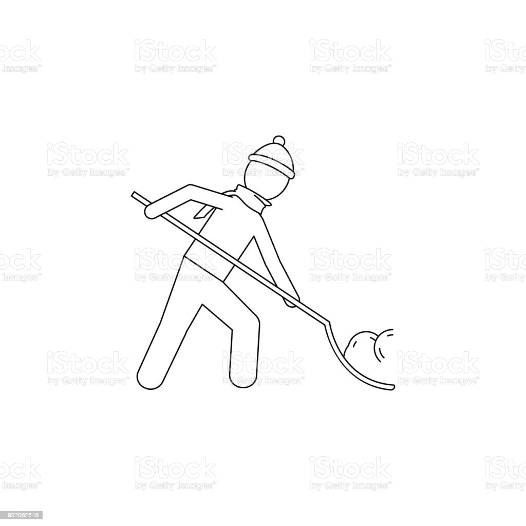 a man is cleaning the snow with a shovel icon. Element of winter elements illustration. Thin line  illustration for website design and development, app development. Premium icon vector art illustration