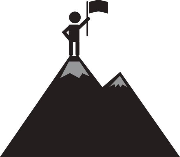 Top 60 Man Top Mountain Flag Winner Concept Vector Sketch ...