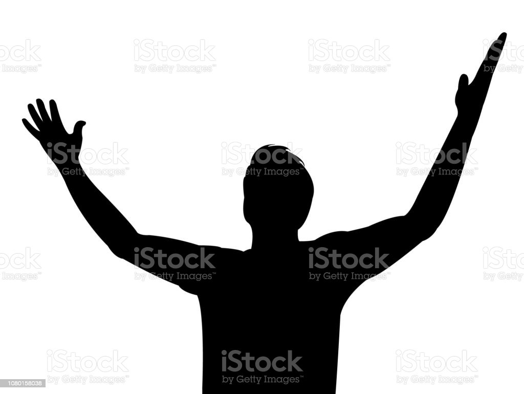 a man open up his arms silhouette vector stock illustration - download  image now - istock  istock