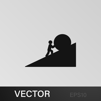 a man pushes a stone icon. Element of overcome challenge illustration. Signs and symbols collection icon for websites, web design, mobile app on gray background