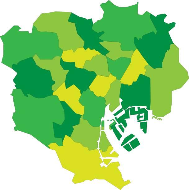 日本の東京23区の地図 - 東京点のイラスト素材/クリップアート素材/マンガ素材/アイコン素材