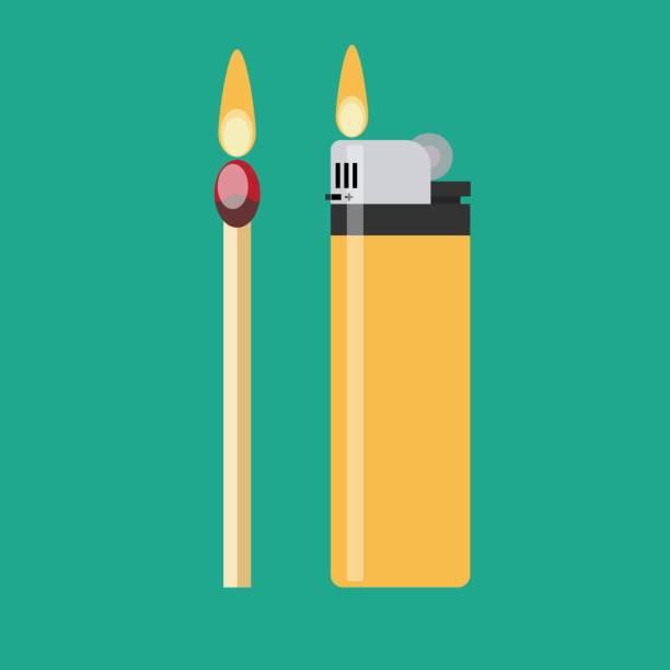 ein spiel und ein blaues gas feuerzeug mit loderndem feuer - feuerzeuggas stock-grafiken, -clipart, -cartoons und -symbole