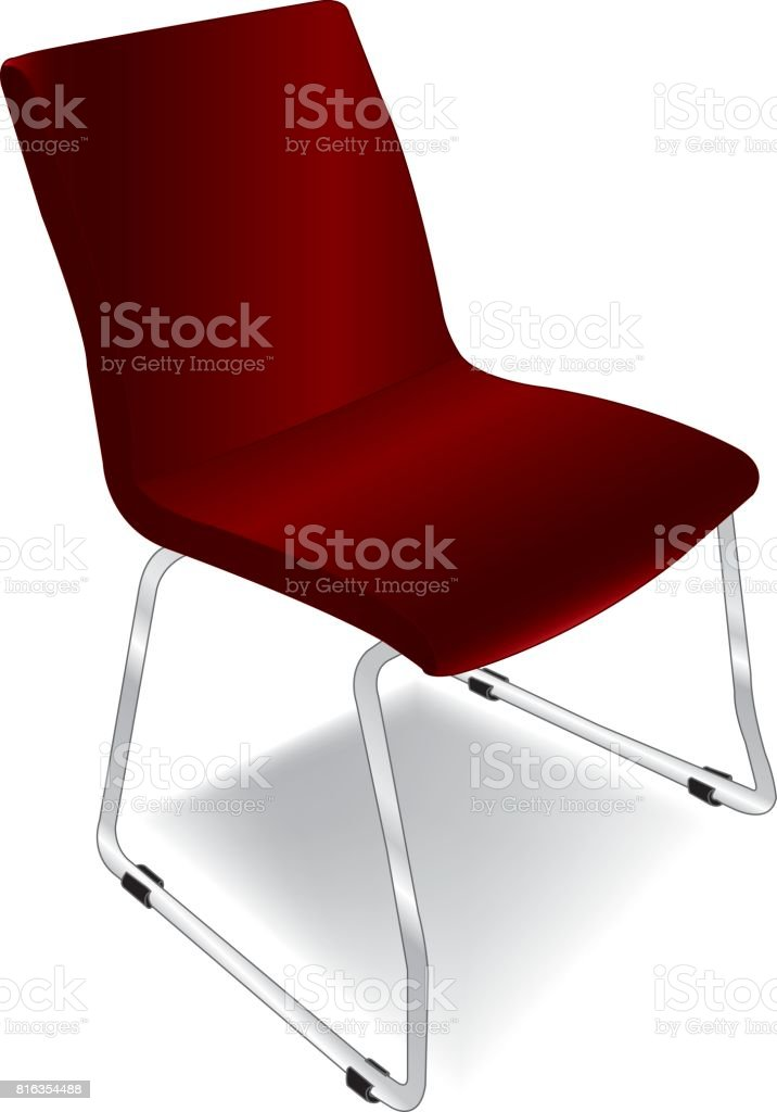 a metal chair with red fabric cushion vector vector art illustration