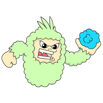 a monster with an angry face carrying a stone, character cute doodle draw. vector illustration