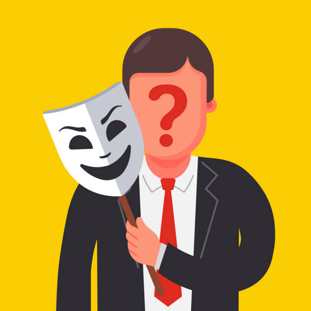a person hides his identity under a mask. mysterious man a person hides his identity under a mask. mysterious man. Flat character vector illustration. imitation stock illustrations