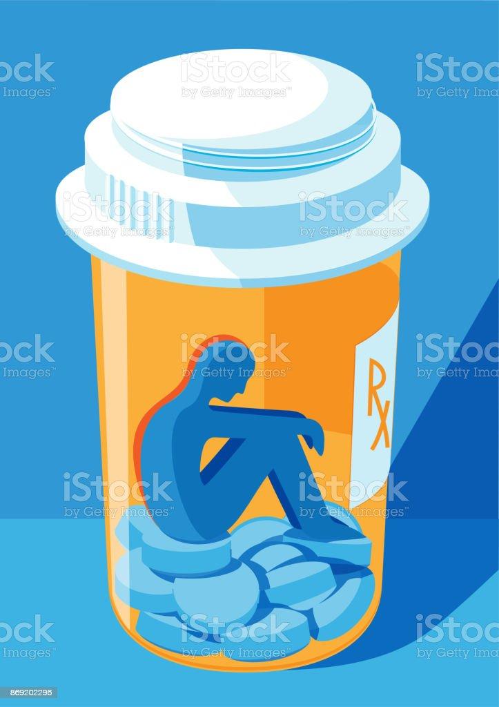a person locked inside a pill bottle - prescription drug addiction concept vector art illustration