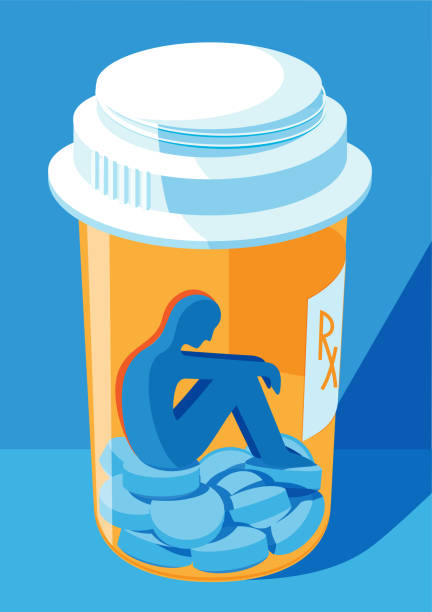 a person locked inside a pill bottle - prescription drug addiction concept A silhouete of a person sitting inside a closed pill bottle; a concept for prescription drug abuse awareness. addict stock illustrations