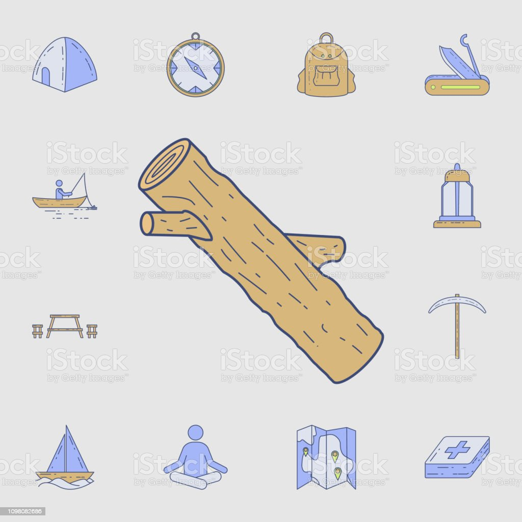 a piece of wood icon. Detailed set of color camping tool icons....