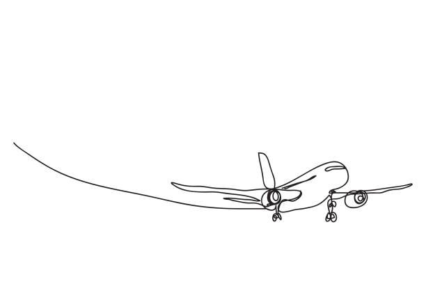 a plane , line drawing style,vector design a plane , line drawing style,vector design airport drawings stock illustrations