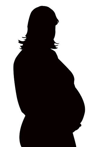 A Pregnant Woman`s Silhouette Stock Photo - Image of