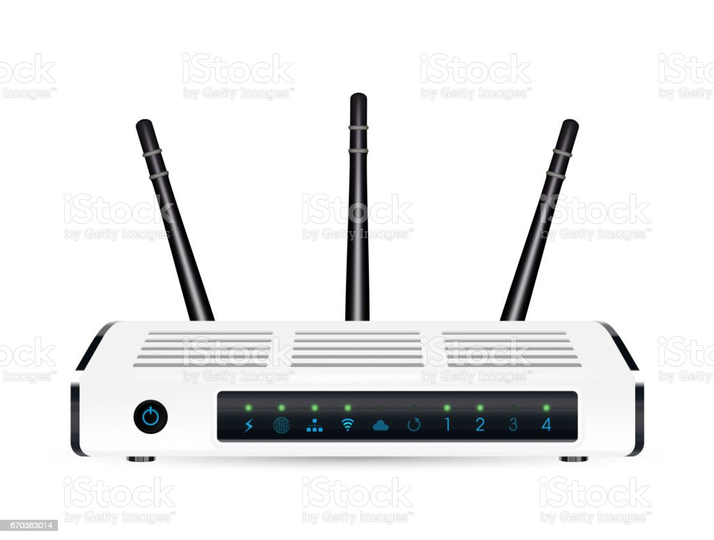 Vetores de Um Verdadeiro 3d Router Modem Adsl Wifi Em Um Fundo